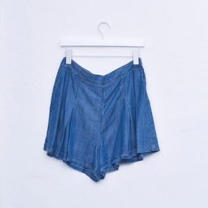 Forever 21 Denim Blue Pleat Shorts Skort NWT